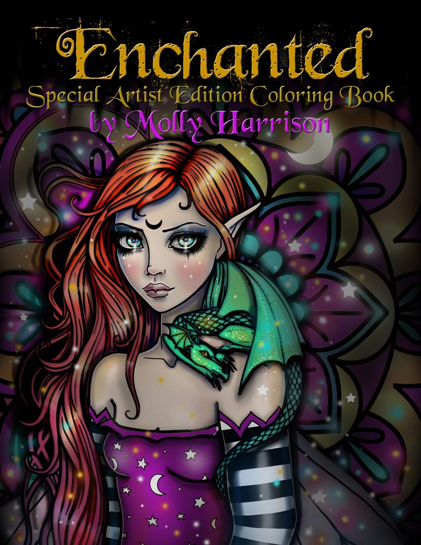 Enchanted - Spiral Bound Special Artist Edition Fantasy Fairy Adult Coloring Book on Cardstock by Molly Harrison