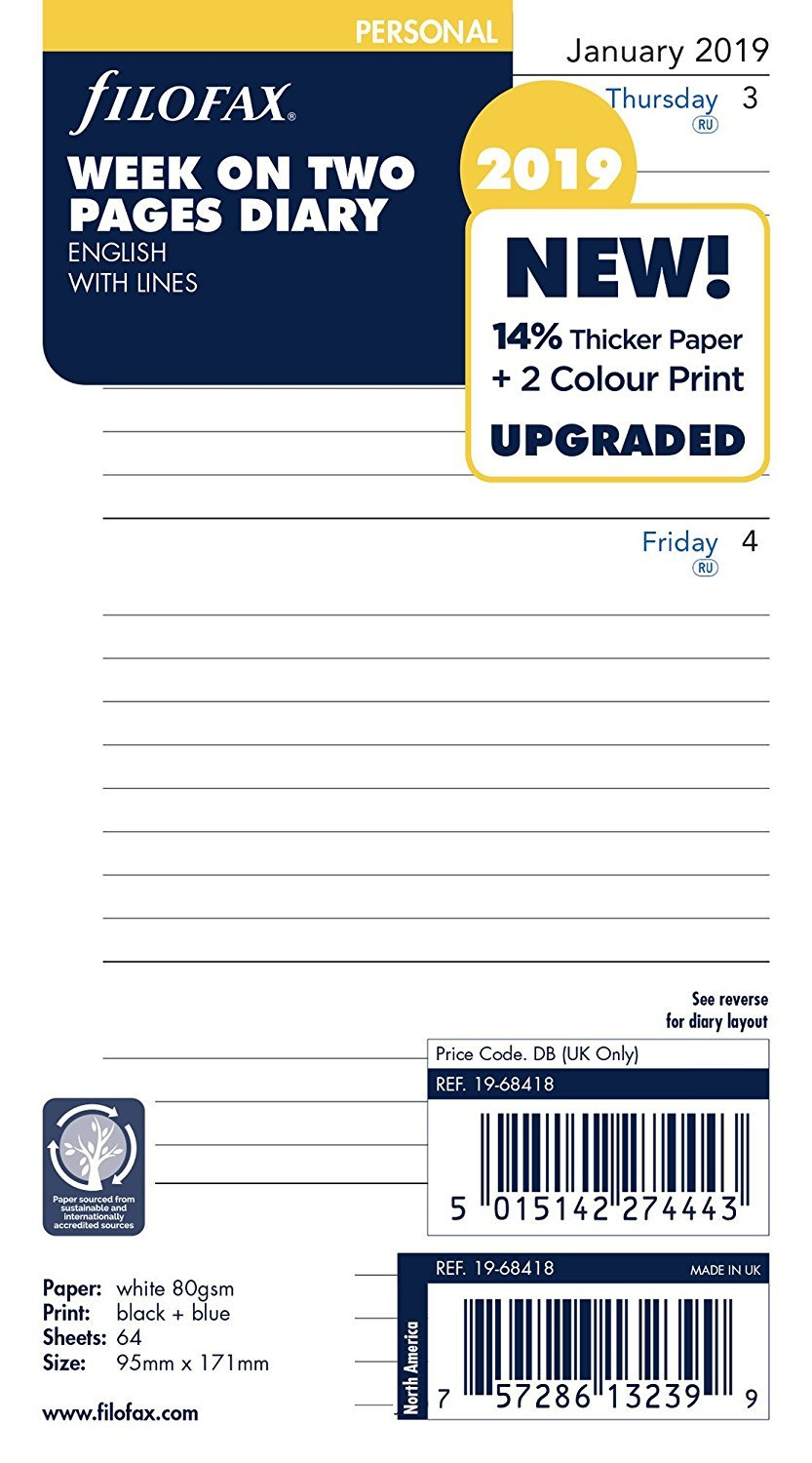 Filofax 19-68418 Personal Week On Two Pages Lined 2019 Diary