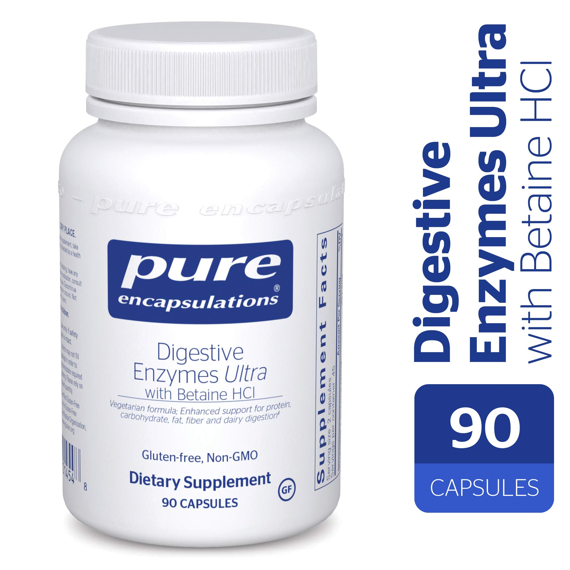 Pure Encapsulations - Digestive Enzymes Ultra with Betaine HCl - Comprehensive Blend of Vegetarian Digestive Enzymes with Betaine HCl - 90 Capsules by Pure Encapsulations