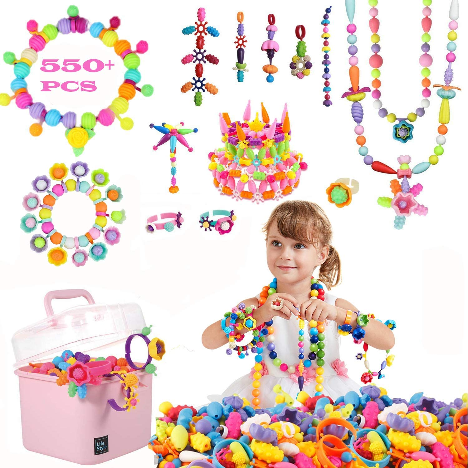 5 7 Year Old Kids Girls 4 550PCS Snap Pop Beads DIY Arts Crafts Set for Hairband Necklace Bracelet 6 Jewelry Making Kit Pop Beads Ring Creativity Toys Ideal Christmas Birthday Gifts for 3