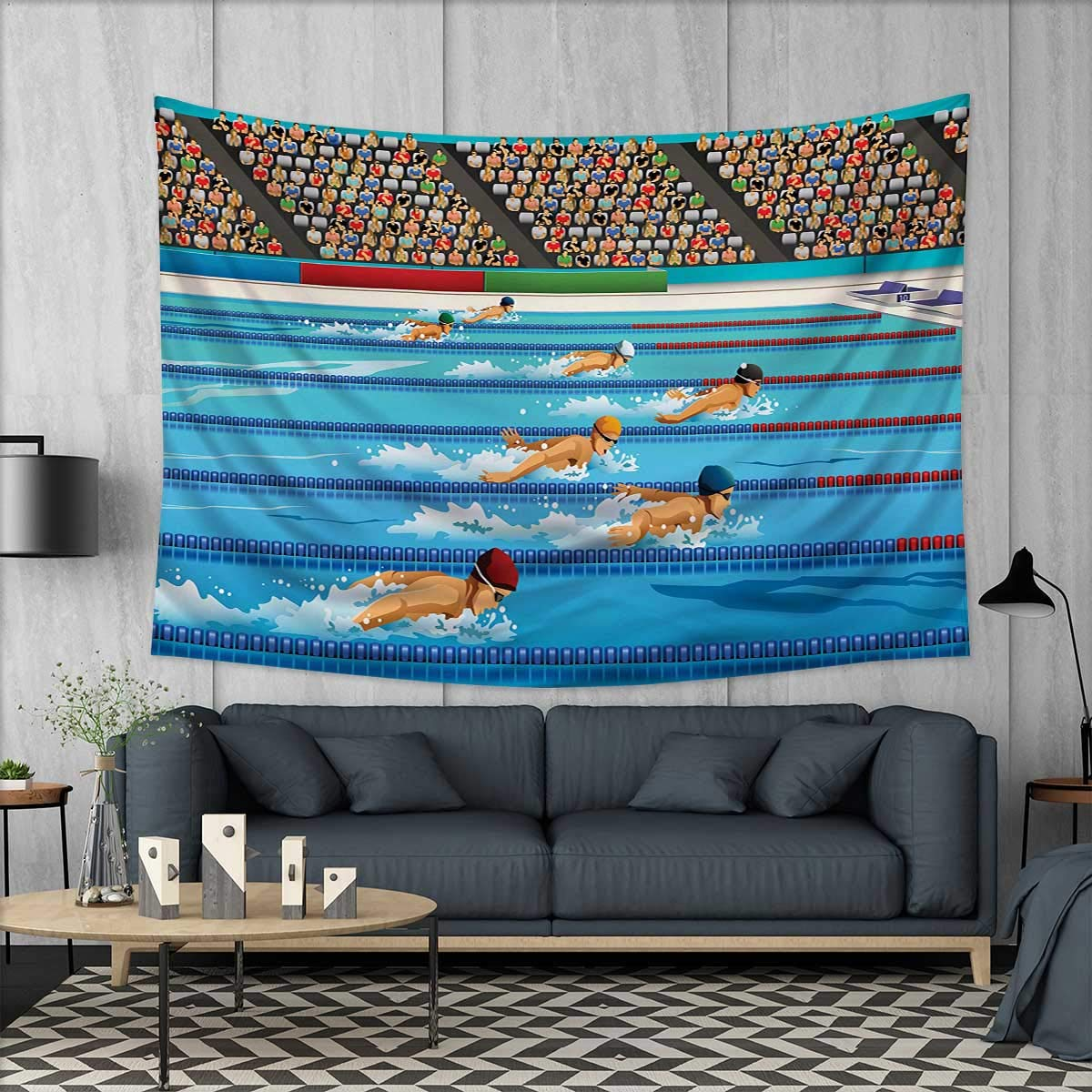 Anhuthree olympics wall hanging tapestries illustration of swimmers during swimming competition sports theme cartoon art large tablecloths 84x54 blue