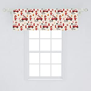 """Lunarable Fire Truck Window Valance, Little Boys and Girls in Uniforms Fire Fighters Theme Career Profession Pattern, Curtain Valance for Kitchen Bedroom Decor with Rod Pocket, 54"""" X 18"""", Red Cream"""