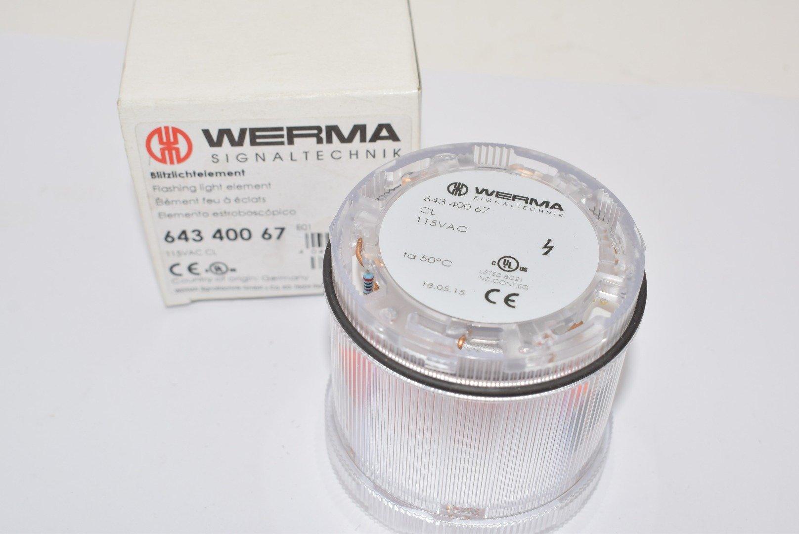 WERMA 64340067 Stack Light; KombiSIGN 71; Xenon Flashing Light Element; 115VAC; Clear