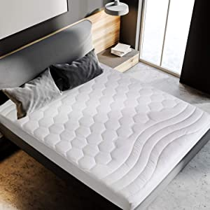 Bedsure Short Queen Mattress Pad RV Size - Breathable - Ultra Soft Quilted Mattress Pad Deep Pocket, Fitted Sheet Mattress Cover for RV, Camper