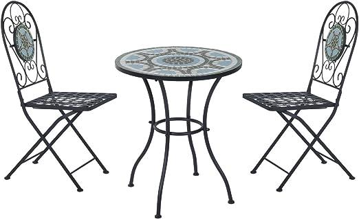 Outsunny - Juego de muebles de jardín, mesa de jardín y 2 sillas plegables, diseño de mosaico: Amazon.es: Jardín