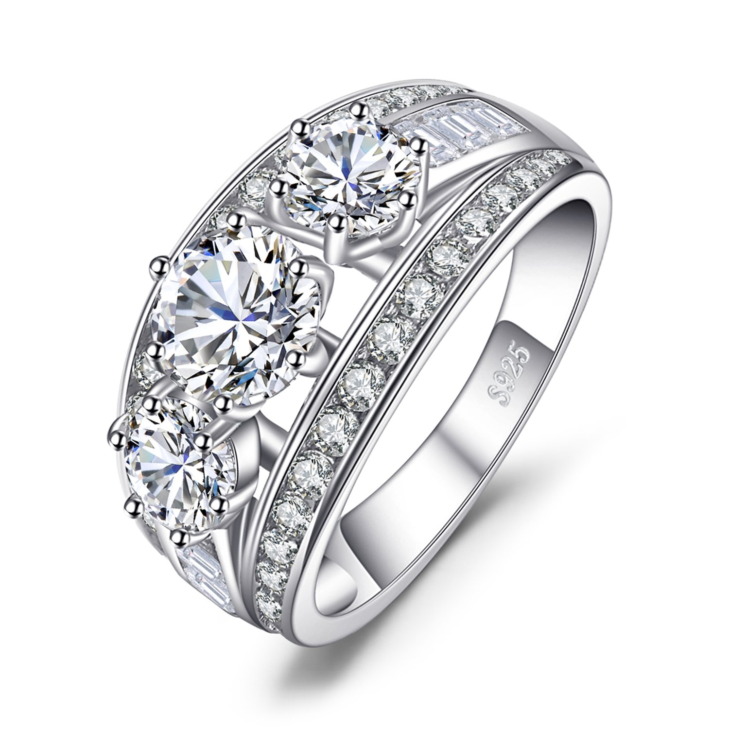 JewelryPalace 3ct Cubic Zirconia 3 Stone Anniversary Promise Wedding Ring 925 Sterling Silver AR872399