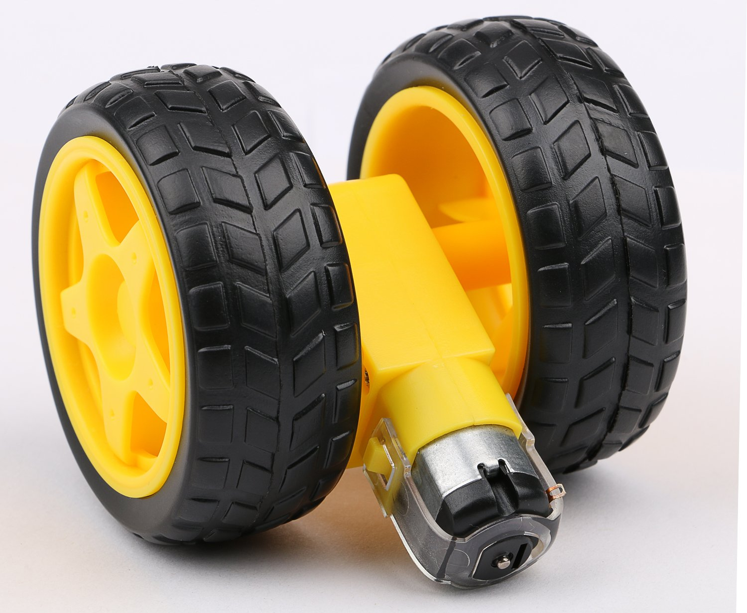 4PCs DC Electric Motor 3-6V Dual Shaft Geared TT Magnetic Gearbox Engine with 4Pcs Plastic Toy Car Tire Wheel, Mini Φ67mm Smart RC Car Robot Tyres Model Gear Parts, Yeeco by Yeeco (Image #6)