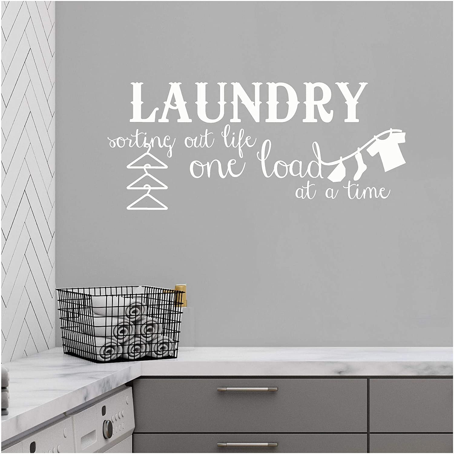 "Laundry Sorting Out Life One Load at a Time Vinyl Lettering Wall Decal Sticker (12.5""H x 30""L, White)"