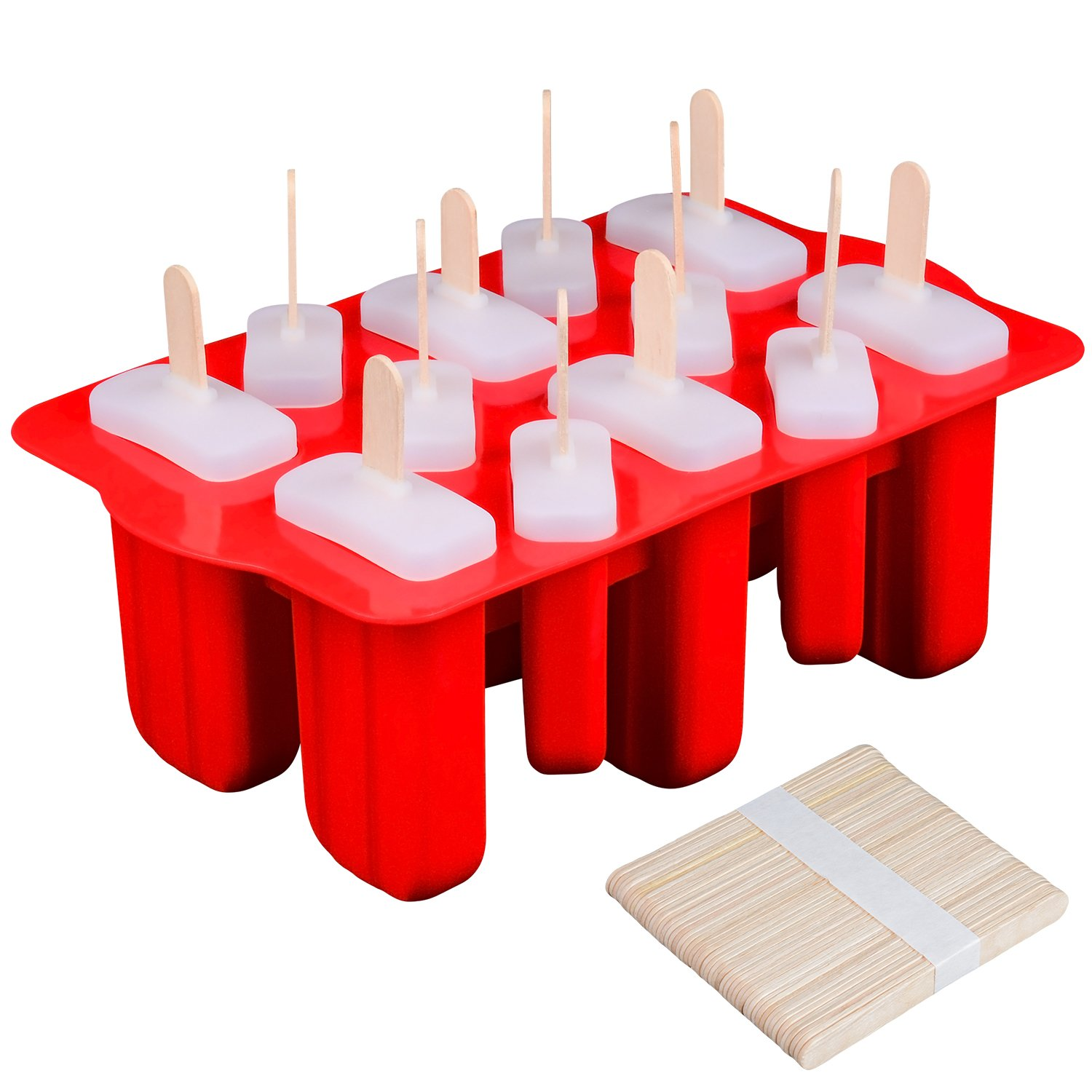 SJ Ice Popsicle Molds Silicone Handmade Fruit Juice Milk Coffee Ice Pop Molds Ice Cream Set with 50 Pcs Wooden Sticks for Kids and Adults, BPA Free(Red)