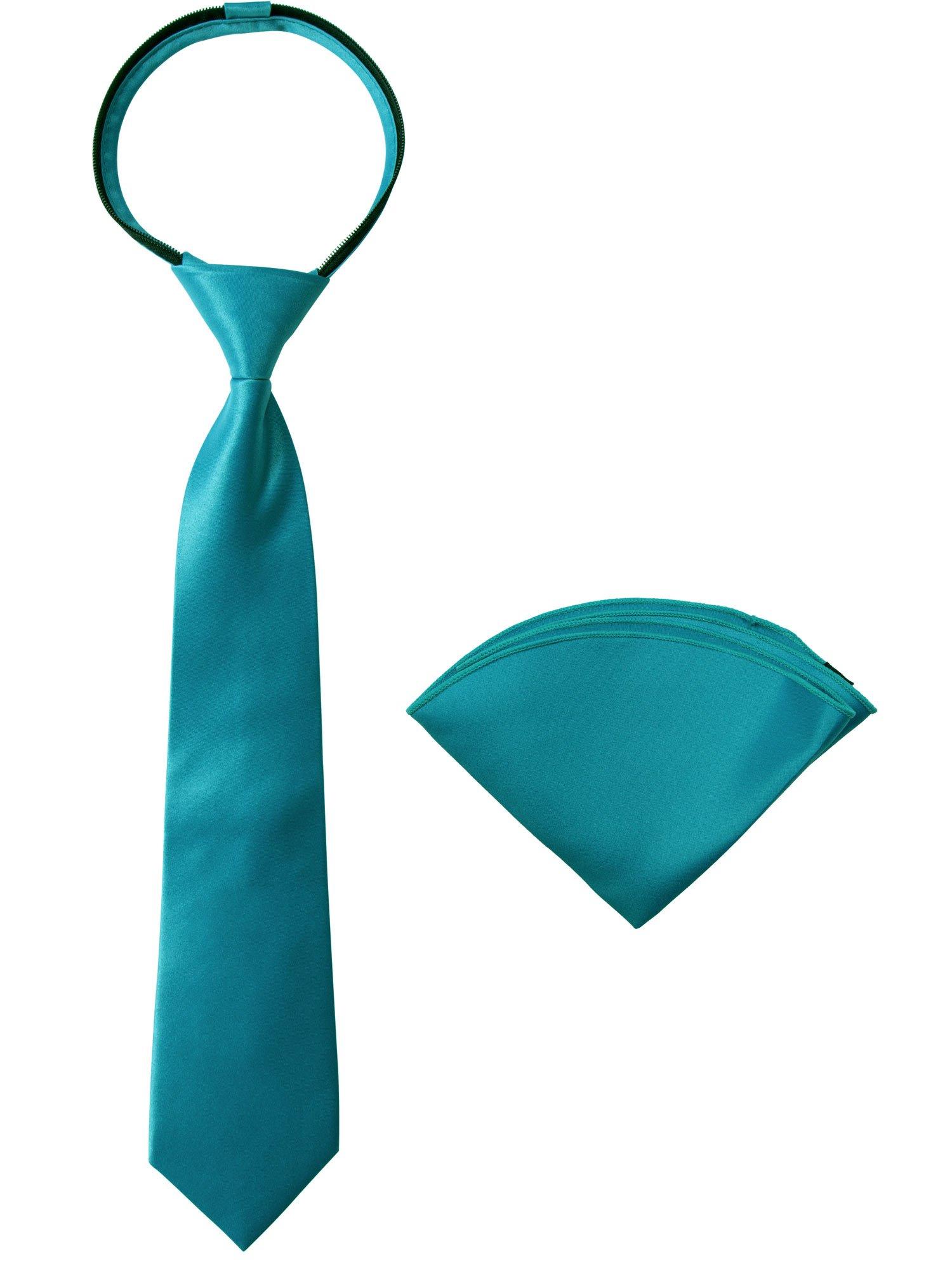 Spring Notion Boys' Satin Zipper Necktie and Handkerchief Set Small Teal