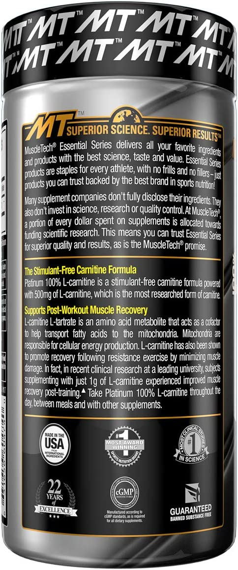 MuscleTech L-Carnitine Supplement, 500mg Acetly-L-Carnitine, Post Workout & Muscle Recovery, 180 Servings (Packaging may vary): Health & Personal Care