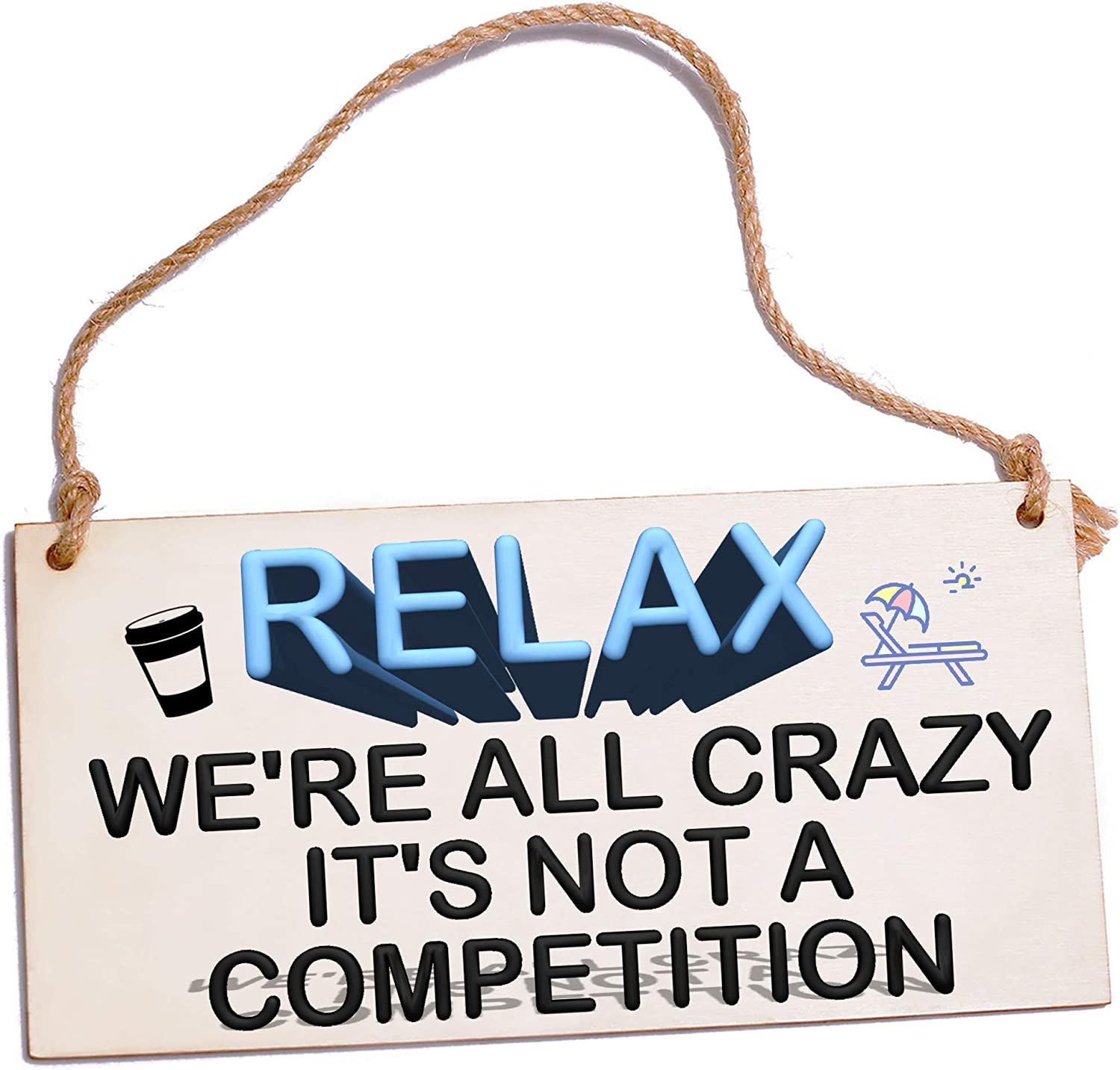 Office Home Decor under 10 Relax We're All Crazy Funny Signs Cubicle Decor Quotes Wall Decor Desk Cute Decorations Wooden Sign with Sayings for Office Living Room Clearance Crazy Gifts Halloween