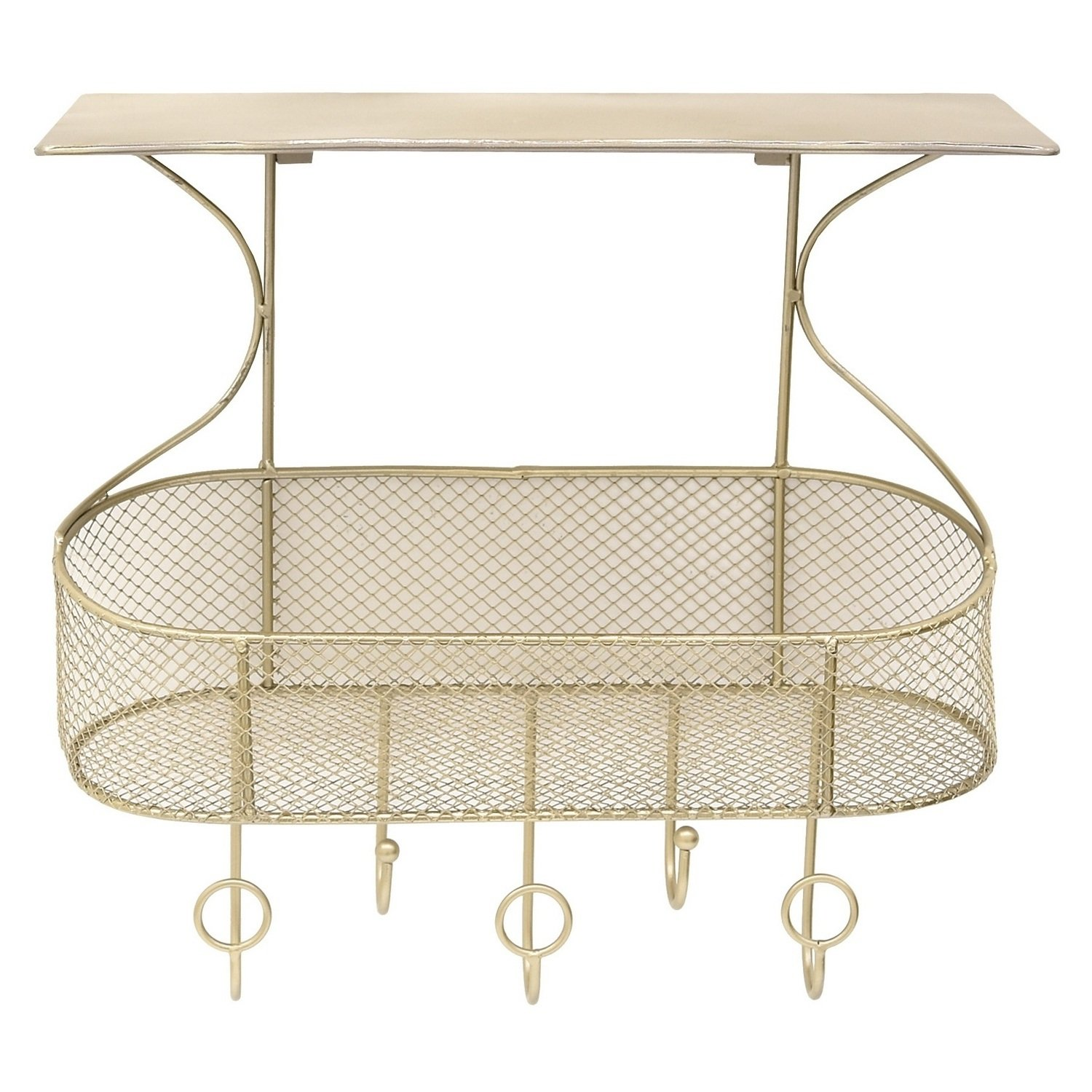 Metal Wall Storage Rack,Gold,Exudes Rustic Charm & Blends into an Industrial or Farmhouse-Inspired Space,Use it to Hang Outdoor Gears or in Kitchen for Spices Along with Oven Mitts & Aprons