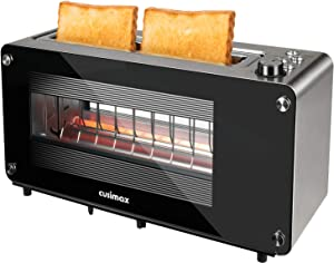 Toaster 2 Slice - CUSIMAX Stainless Steel Toaster Visible Glass Window with 7 Shade Settings and Bagel, Cancel, Defrost Function,Extra-Wide Slot Bread Toaster with Automatic Lifting, Slide-out Glass Panel & Removable Crumb Tray