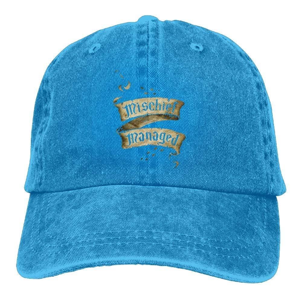 JTRVW Mischief Managed Vintage Trend Printing Cowboy Hat Fashion Baseball Cap for Men and Women Black