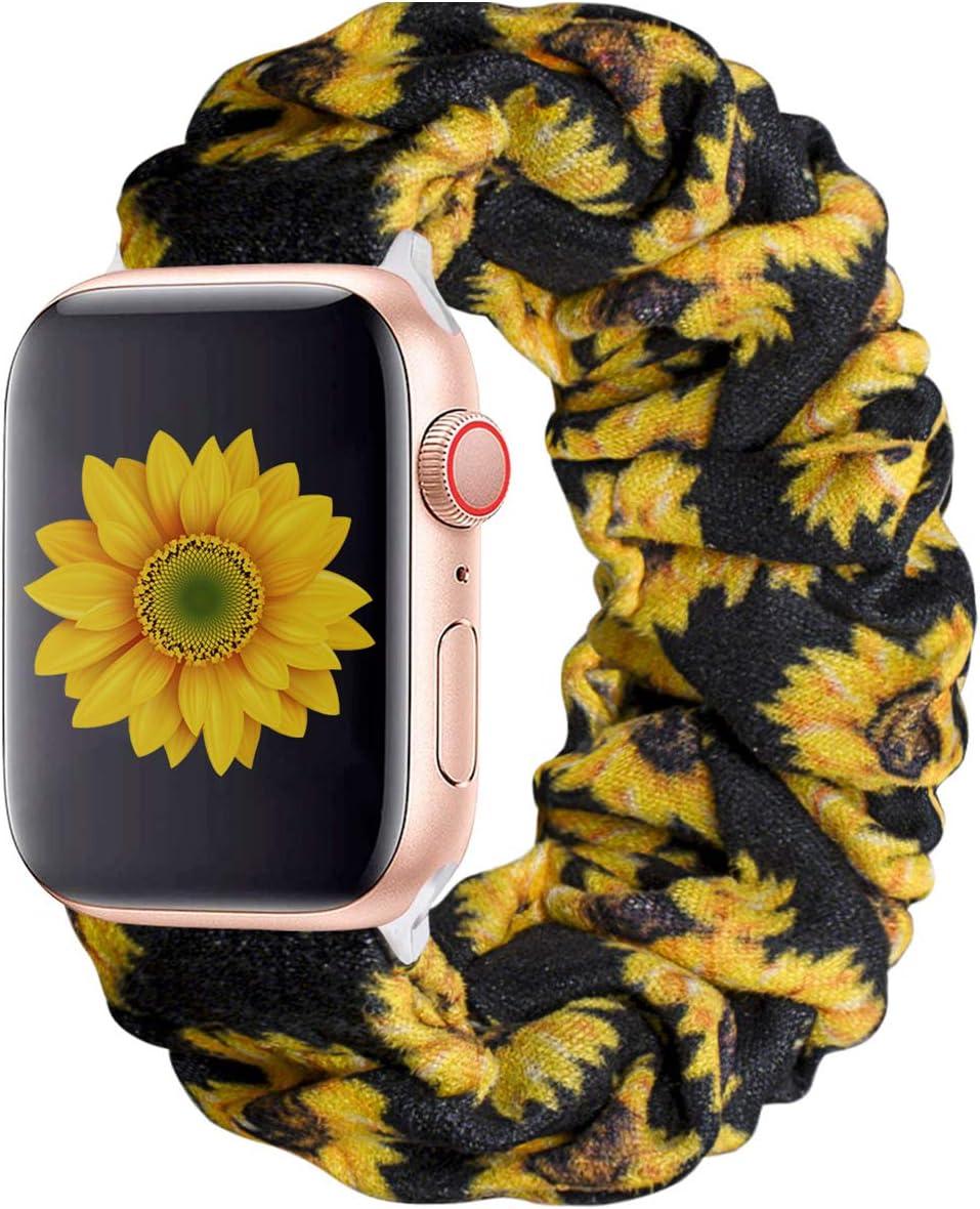 KraftyChix Cute Scrunchie Elastic Watch Band Compatible for Apple Watch, Soft and Fashion Elastic Strap Compatible with Iwatch 38mm 40mm / 42mm 44mm Series 1-4 (Sunflower, 38mm/40mm)