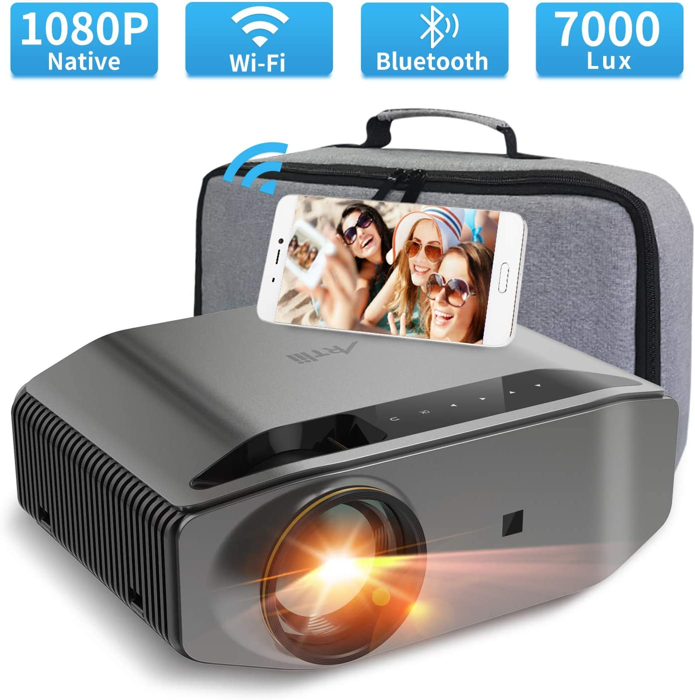 "1080P Projector - Artlii Energon 2 Full HD WiFi Bluetooth Projector Support 4K, 7000L 300"" Display, Compatible with TV Stick, HDMI, iPhone, Android for Home Theater, PPT Presentation"
