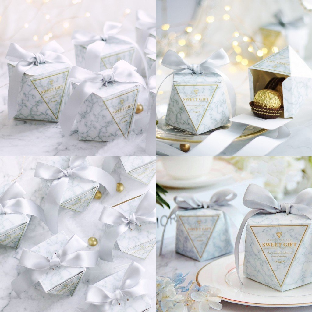 Jzk 50 Diamond Shape Flamingo Wedding White Favour Boxes With