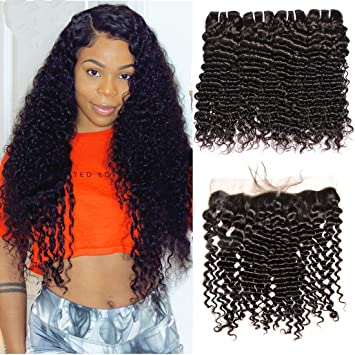 Groovy Amazon Com Brazilian Deep Curly Hair 3 Bundles With Frontal Schematic Wiring Diagrams Amerangerunnerswayorg