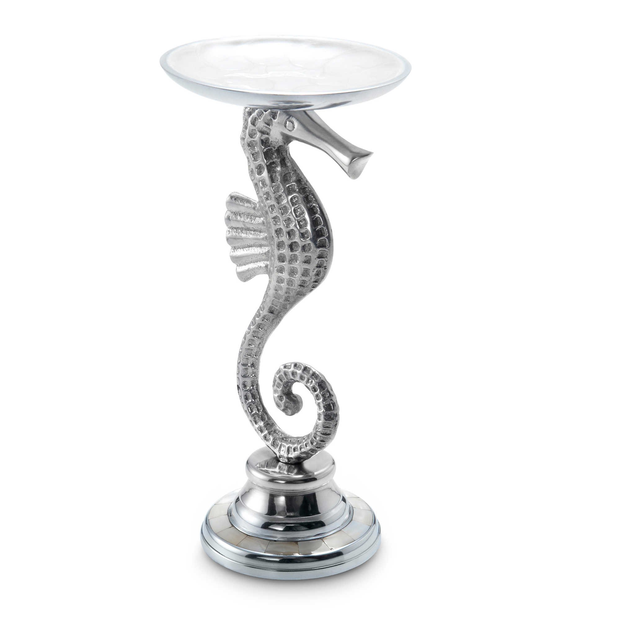 Julia Knight Sea Horse Pillar Candle Holder, 9.5-Inch, Snow, White by Julia Knight (Image #1)