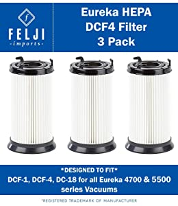 3 PACK Felji HEPA Filter Replacement for Eureka DCF-1, DCF-4, DCF-18 Filters for all Eureka 4700 & 5500 series vacuums - Compare to Eureka Part 62132, 63073, 61770, 3690, 28608-1