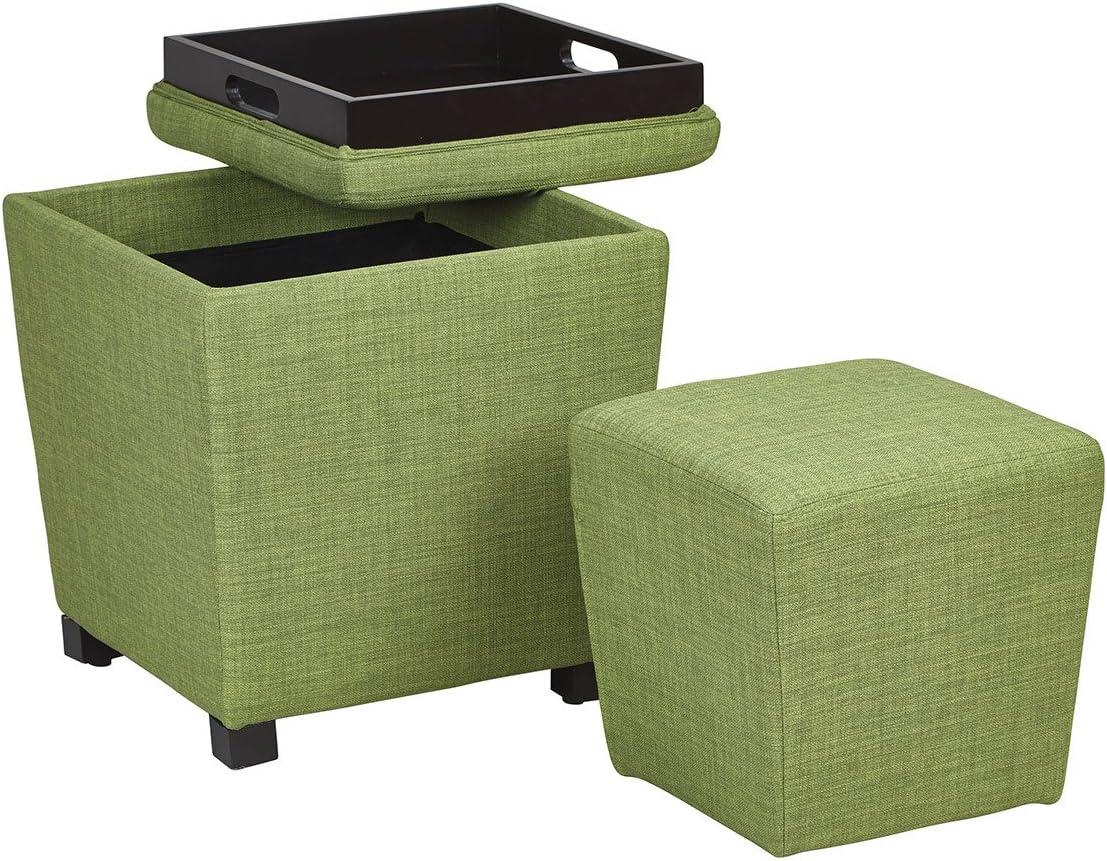 OSP Designs Metro Fabric 2-Piece Storage Ottoman Nesting Cube Set with Dark Espresso Finished Feet, Milford Grass
