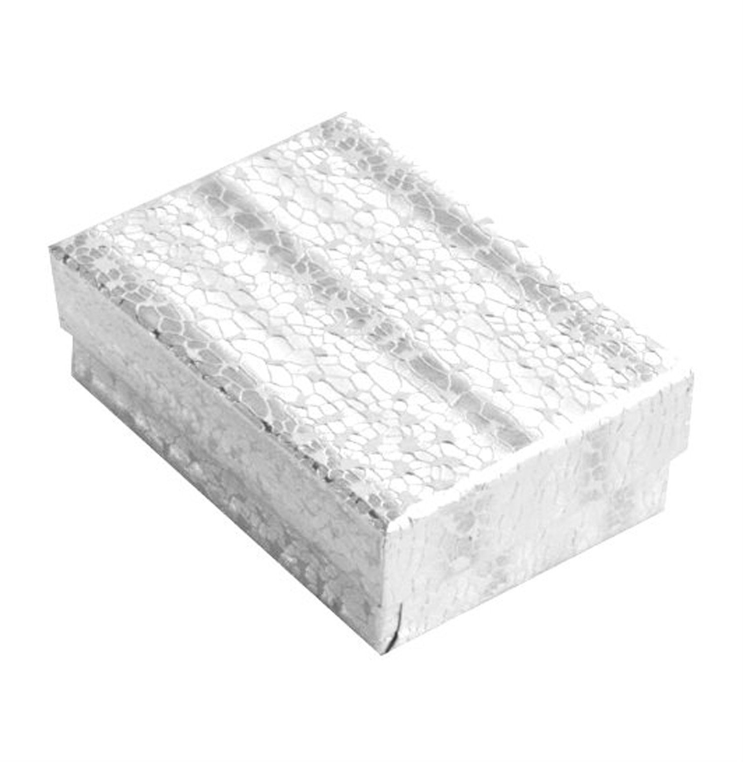 Lot of 100 pcs 3 1/4'' x 2 1/4'' x 1'' Silver Foil Cotton Filled Jewelry Boxes