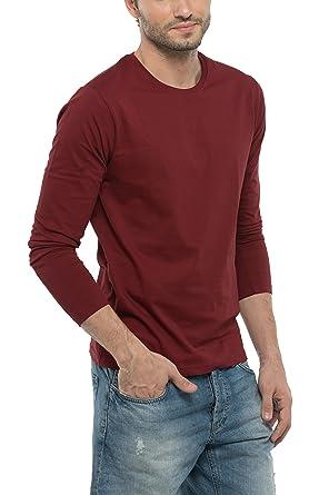 Bewakoof Varsity Maroon Mens Cotton Plain Full Sleeve T Shirts M