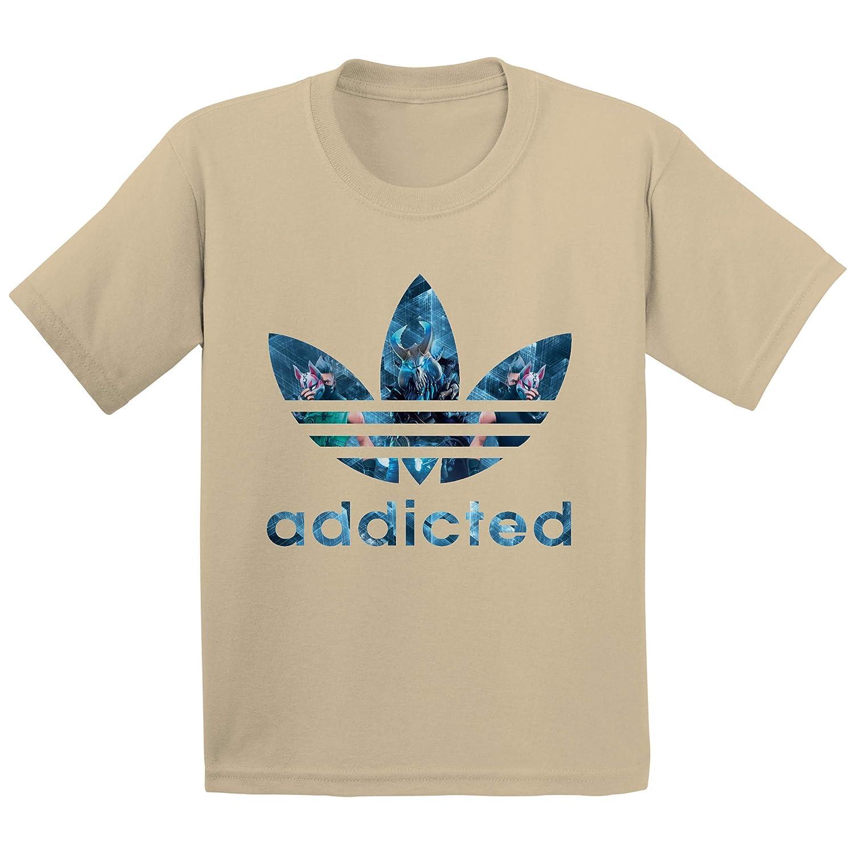 Blue Bubble Tees Kids Fortnite Addicted Gamer Unisex Boys Girls T-Shirt