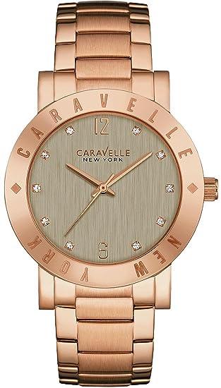 Caravelle New York 44l203 Mujer Pulsera inoxidable gris Dial Oro rosa Reloj: Amazon.es: Relojes
