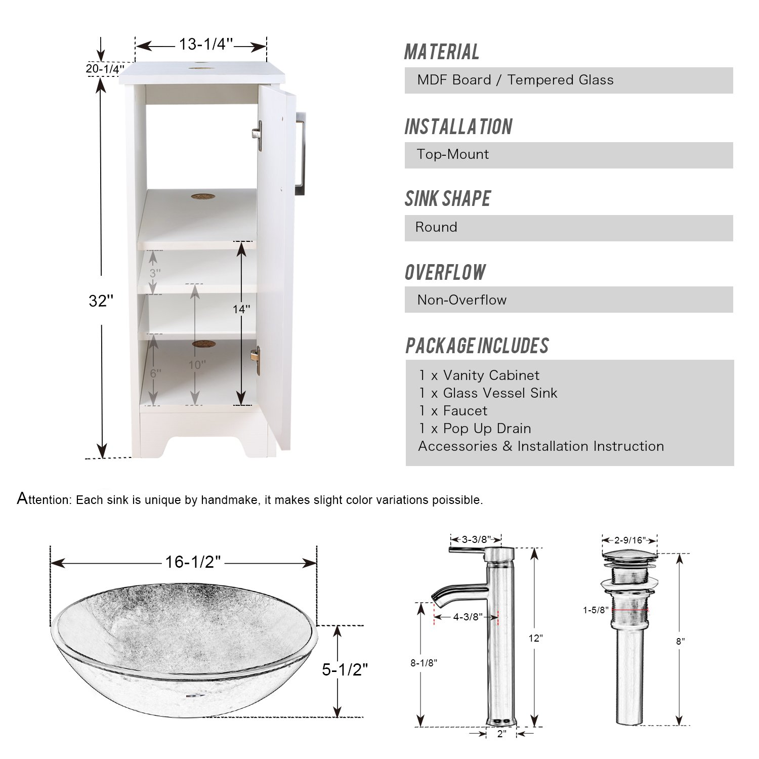 Eclife 14 Bathroom Vanity And Sink Combo White Small Vanity Round