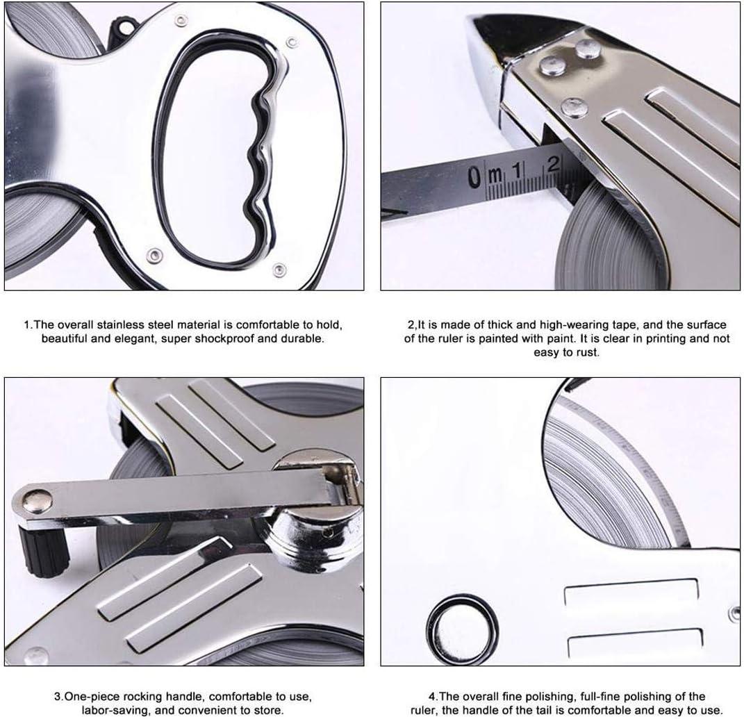 Stainless Steel Tape Measure CNKOBE Open Reel Tape Measure 100M Measuring Tape Surveyor Tool with Ground Spike and Handle Steel