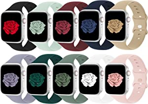 Bandiction Compatible with Apple Watch Band 42mm 44mm iWatch Bands 42mm 44mm Women Men, Soft Silicone Sport Replacement Strap Compatible for Apple Watch SE Series 6 5 4 3 2 1, Sport Edition, 10 Pack