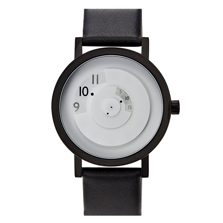 Projekte 7203 wl-40 Herren Schwarz Leder Band Weiß Zifferblatt Smart Watch