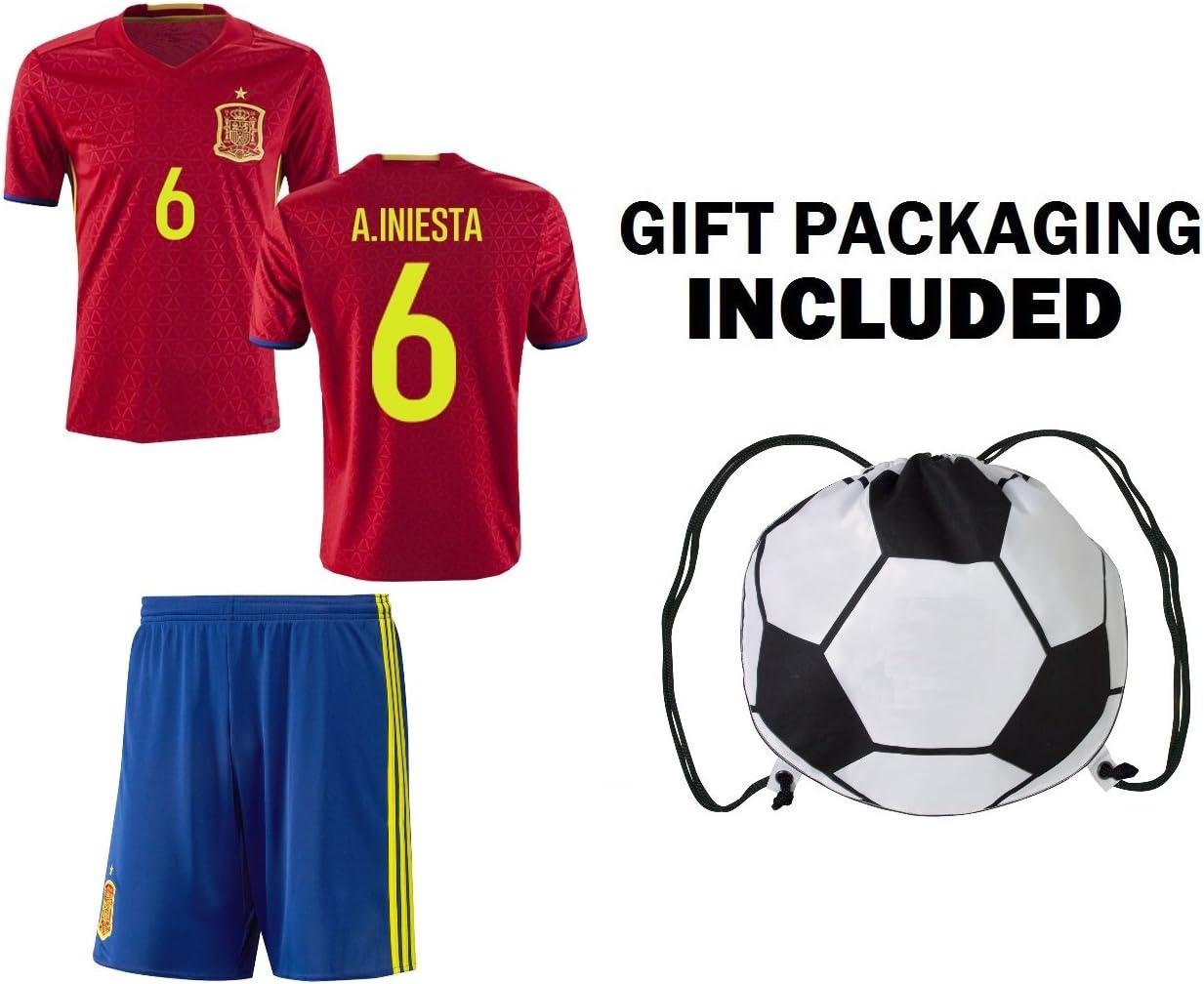 Ventilador - Mochila para niños España Iniesta # 6 jóvenes Home/away fútbol Jersey y pantalones cortos niños Premium - Mochila para niños de regalo ✮ Bonus balón de fútbol cordón mochila, Home