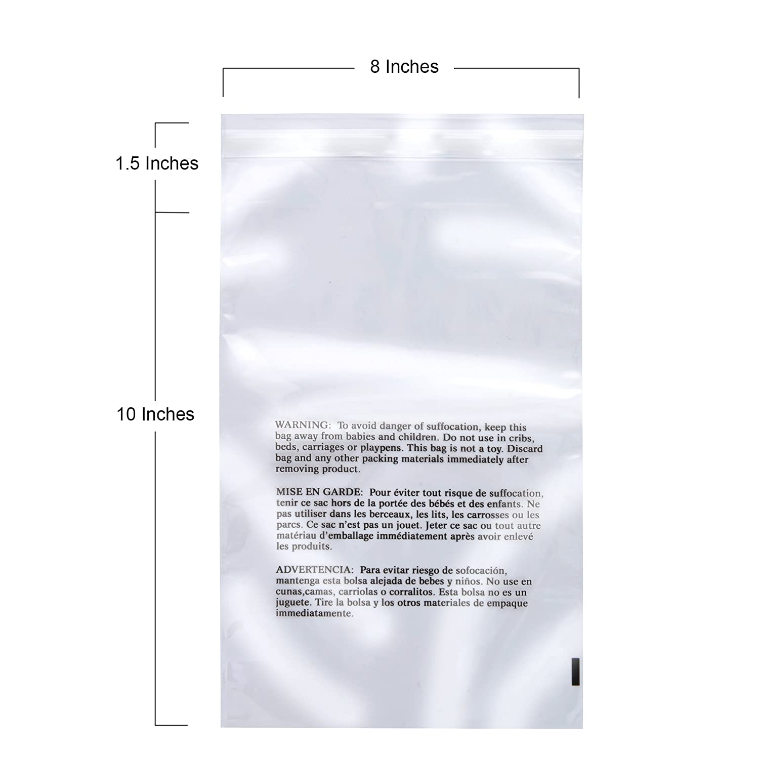 Amazon.com: Retail Supply Co Clear Poly Bags with Suffocation Warning - Multiple Size Options Available - (8x10 Extra Strong Seal): Office Products