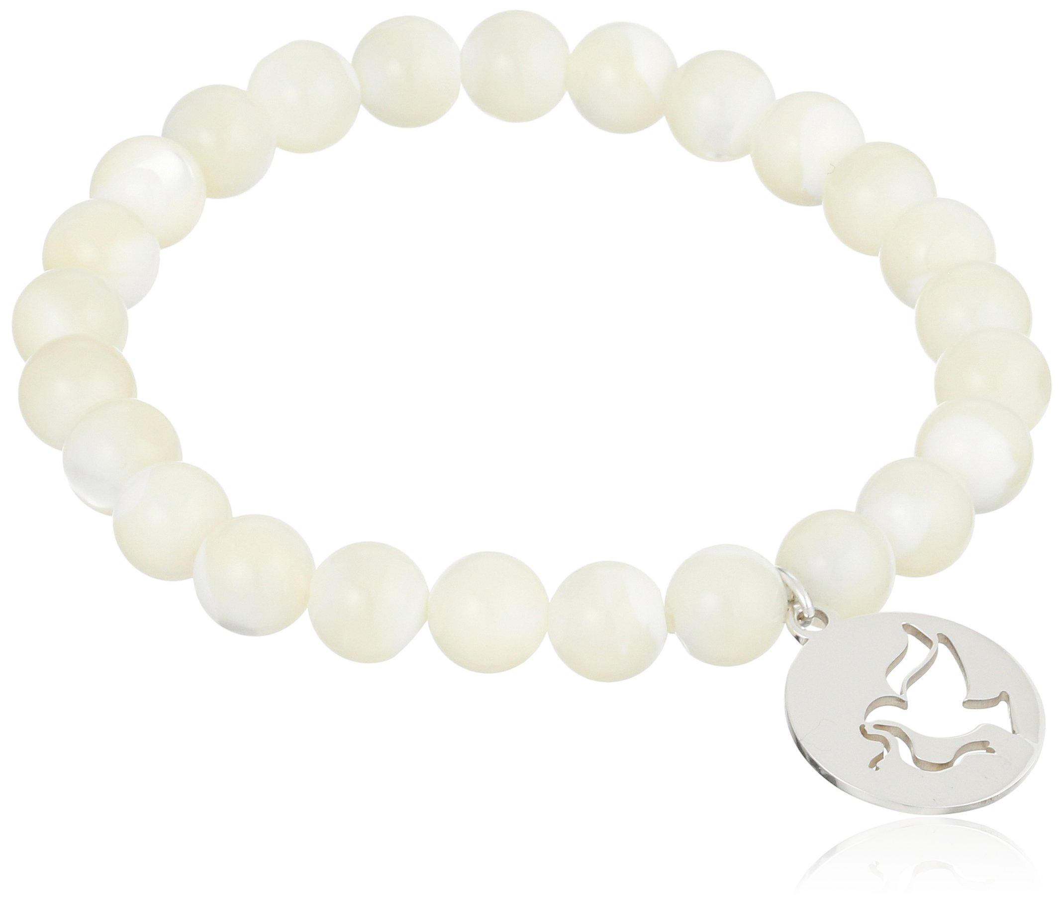 Sterling Silver Peace Dove Charm 8mm White Mother-of-Pearl Shell Stretch Bracelet 7.5''