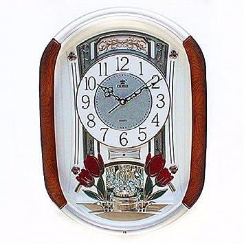 ZHGI Relojes y normal tranquila reloj de pared, living sala rectangular tabla vinculada Europea, relojes moda hogar,A: Amazon.es: Hogar