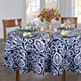 """Lahome Damask Floral Pattern Tablecloth - Stain Resistant Polyester Table Cover for Kitchen Dining Room Restaurant Party Decoration (Round - 60"""", Blue)"""