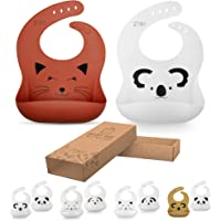 Mr&Mrs Tiny 2pcs Waterproof Silicone Baby Bibs for Feeding Babies & Toddlers | Baby Gifts | Eco Friendly | Easily Wipes Clean | Cute Designs for Boys & Girls