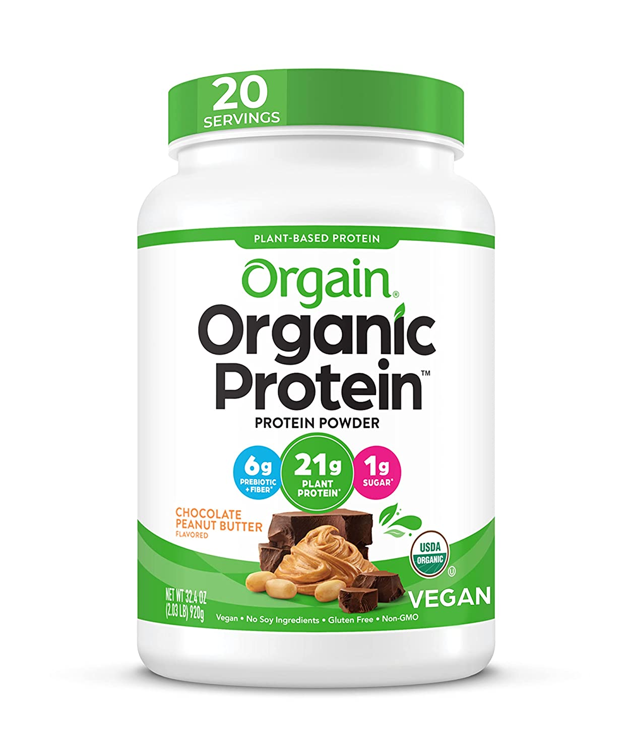 Orgain Organic Plant Based Protein Powder, Chocolate Peanut Butter - Vegan, Low Net Carbs, Non Dairy, Gluten Free, Lactose Free, No Sugar Added, Soy Free, Kosher, 2.03 Pound (Packaging May Vary)