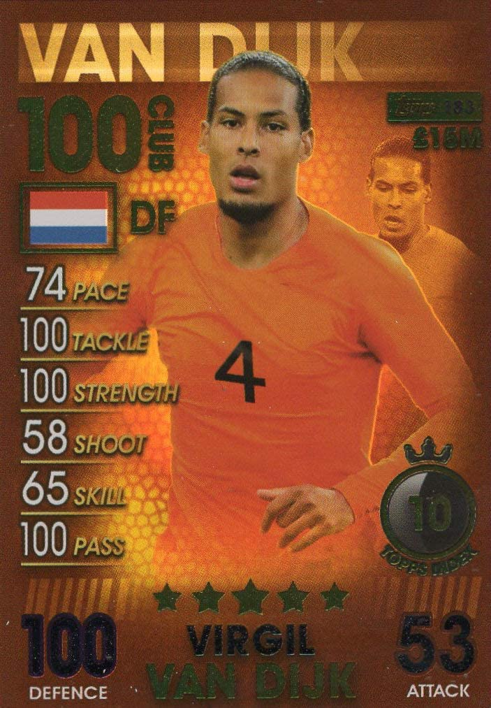 Match Attax 101 Virgil van Dijk 100 Club 2019