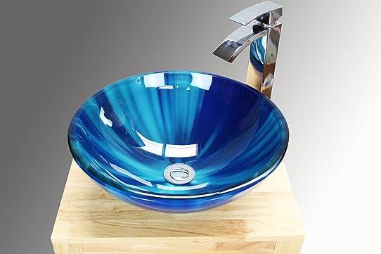 salle de bain lavabo vasque mixte bleu en verre bassin vier - Lavabo Salle De Bain En Verre