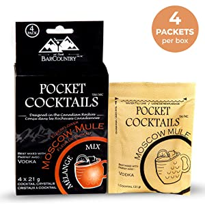 BarCountry Moscow Mule Alcoholic Drink Mixes – All Natural, Low Carb Powdered Cocktail Mix for Camping and Travel (4 Packets per Box)