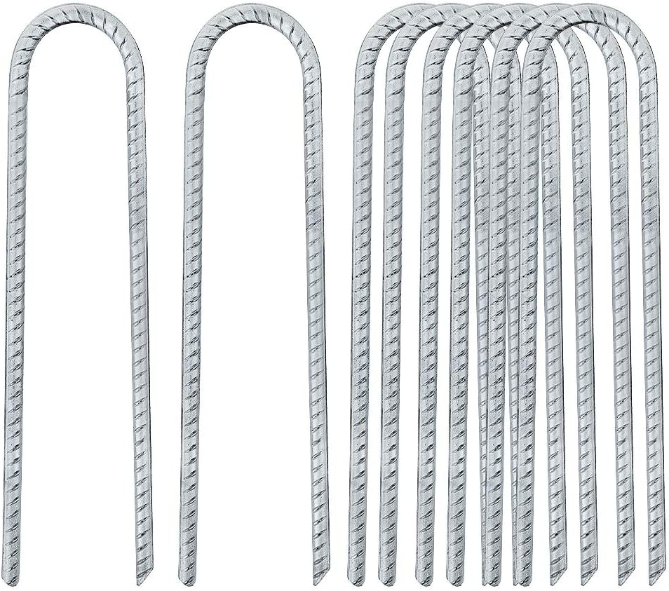 FEED GARDEN 12 Inches Galvanized Rebar Stakes U Hook Trampoline Anchors Heavy Duty Steel, High Wind Stakes for Anchoring Tents, Pack of 8