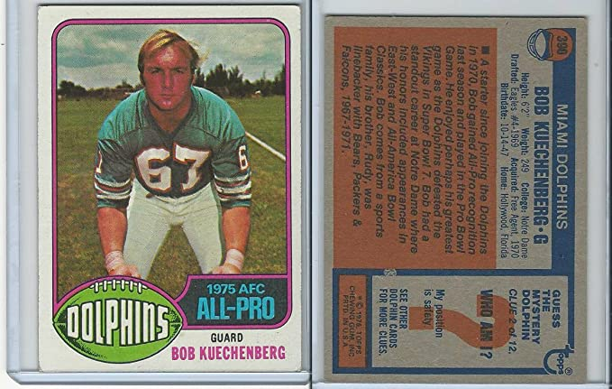 Amazon Com 1976 Topps Football 390 Bob Kuechenberg All Pro