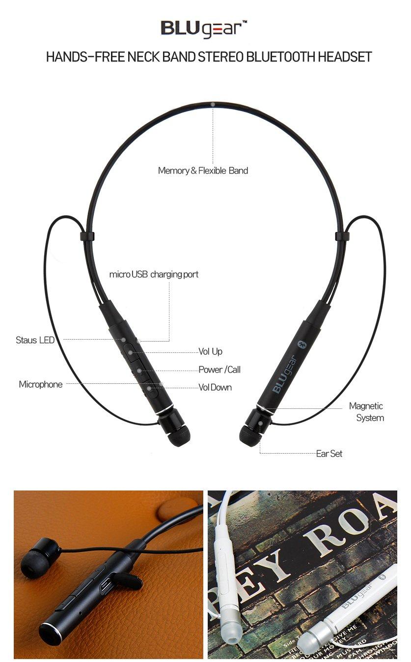 BluGear Bluetooth neckband headphones Bluetooth headphones neckband headphones neckband for earbuds neckband for wireless headphones neckband wireless earbuds headphones (White)