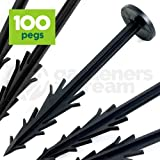 "GardenersDream 150mm (6"") Fixing Pegs - Used to Anchor and Secure Weed Control Fabric, Ground Cover, Landscape Membrane, Fleece, Netting, Tarpualins, etc (Qty: 100 pegs)"