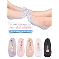 Queen-Ks Girls/Women Low Cut Silicone Grip Non-Skid No Show Lace Loafer Footies Socks 5/10 pairs