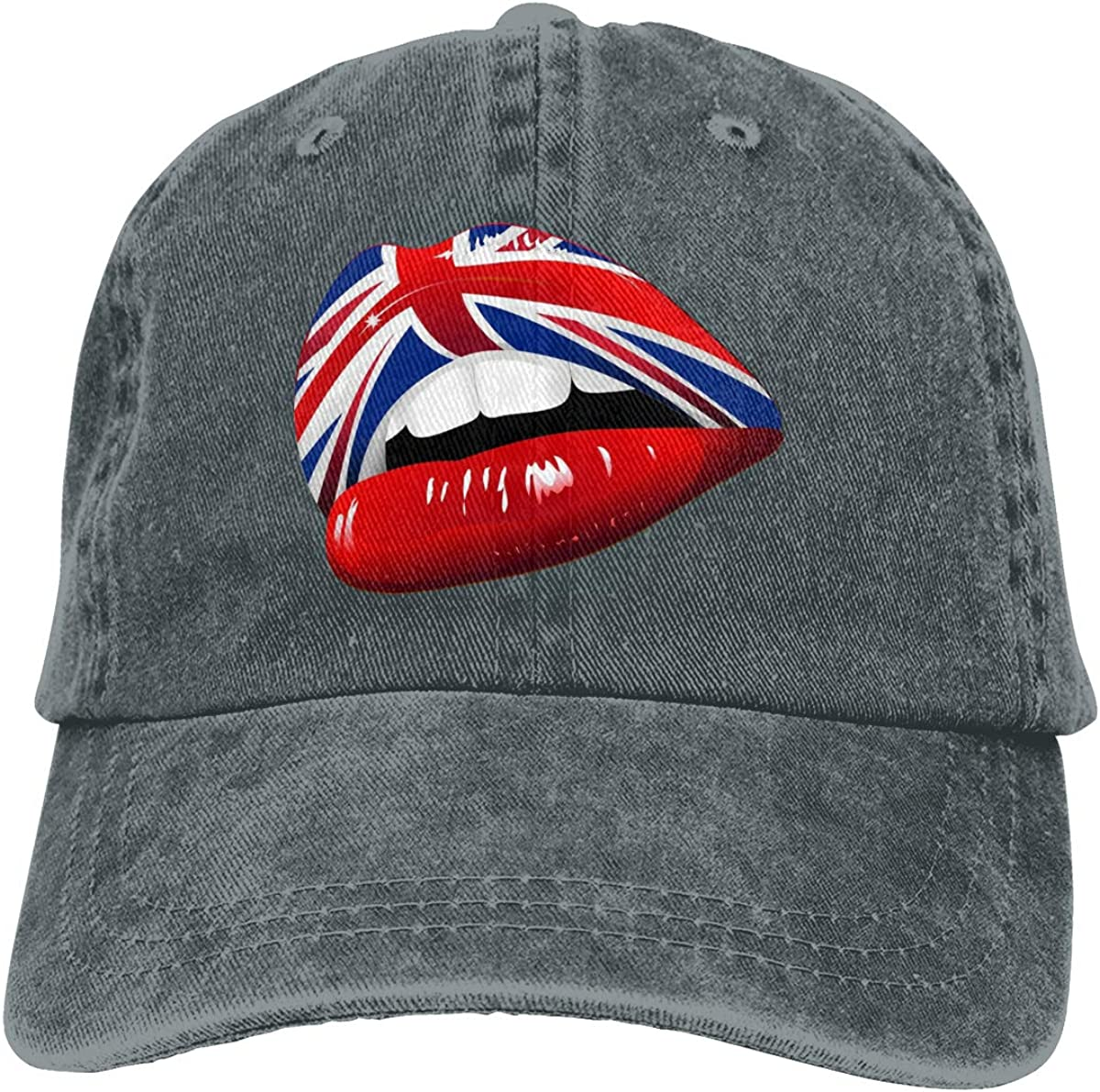 GAOFEIhat Labbra Sensuali Inghilterra-UK England Flag Sensual Lips Unisex Adult Denim Hats Cowboy Hat Dad Hat Driver Cap